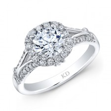 WHITE GOLD INSPIRED HALO DIAMOND ENGAGEMENT RING