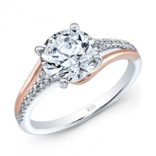 WHITE AND ROSE GOLD CONTEMPORARY DIAMOND BRIDAL RING