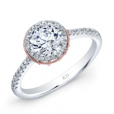 WHITE & ROSE GOLD CLASSIC HALO DIAMOND ENGAGEMENT RING