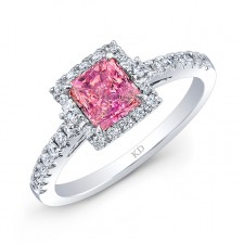 WHITE GOLD CLASSIC PINK ENHANCED CUSHION DIAMOND ENGAGEMENT RING
