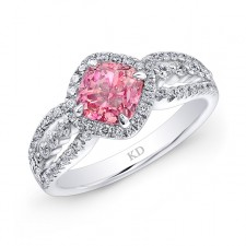 WHITE GOLD  INSPIRED PINK ENHANCED CUSHION DIAMOND BRIDAL RING