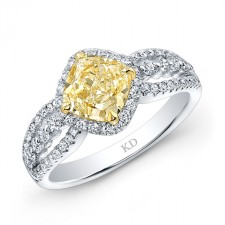 WHITE AND YELLOW GOLD ELEGANT FANCY YELLOW DIAMOND CUSHION ENGAGEMENT RING