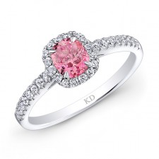 WHITE GOLD PINK ENHANCED RADIANT DIAMOND BRIDAL HALO RING