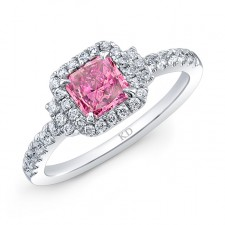 WHITE GOLD CLASSIC PINK ENHANCED CUSHION HALO DIAMOND RING