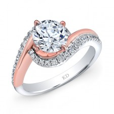 WHITE & ROSE GOLD FASHION SWIRLED BRIDAL RING