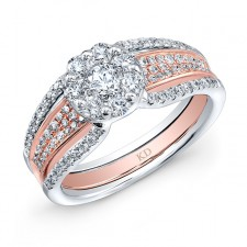 WHITE & ROSE GOLD INSPIRED VINTAGE ROUND DIAMOND BRIDAL RING