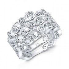 WHITE GOLD  SWIRLED FASHION DIAMOND TRIO BAND