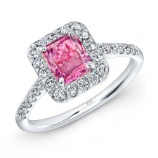WHITE GOLD CLASSIC PINK ENHANCED RADIANT DIAMOND BRIDAL RING