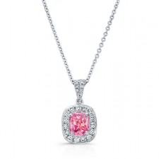 WHITE GOLD CLASSIC PINK ENHANCED CUSHION DIAMOND PENDANT