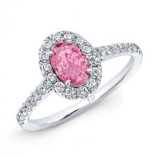 WHITE GOLD PINK ENHANCED OVAL DIAMOND ENGAGEMENT RING
