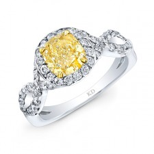 WHITE AND YELLOW GOLD TWISTED FANCY YELLOW CUSHION DIAMOND ENGAGEMENT RING