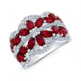 WHITE GOLD NATURAL COLOR FLOWER RUBY DIAMOND RING