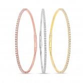 WHITE & ROSE & YELLOW GOLD THREE FLEXIBLE DIAMOND BANGLES